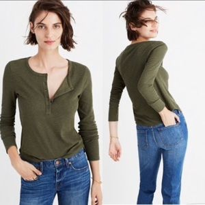 NWOT Madewell Ribbed Long Sleeve Henley Top Sz Med